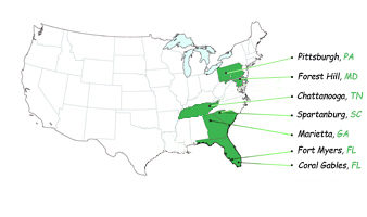 Responsive Call Center U.S. Locations Map